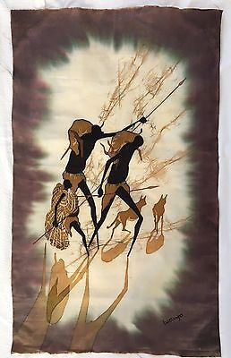 """African Batik Wall Hanging - """"Home from the Hunt"""""""