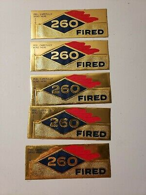 """Vintage Rare!!! Embossed Sunoco Gas """"260 Fired"""" 5 Nos Decals Displays Well"""