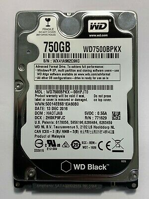 "WD Western Digital Black 750GB - SATA III Hard Drive 2.5"" - 7200RPM - WD7500BPKX"
