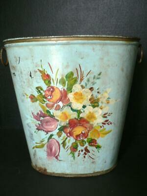 Vintage Robins Egg Blue Tole  Flower Wastebasket Trash Can Shabby Chic