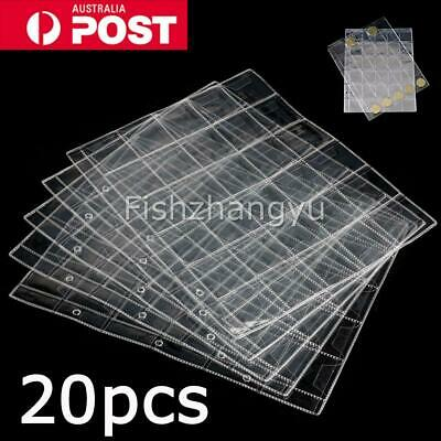 20pcs 30 Pockets Coin Holder Folder Pages Sheets For Collection Album Storage O