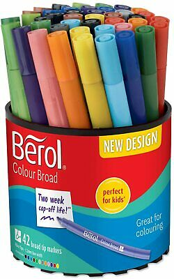 Berol Felt Tip Colouring Pens, Broad Point (1.2mm), Washable, Assorted Colours,