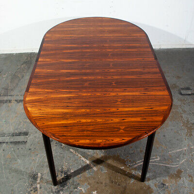 Mid Century Danish Modern Dining Table Round Oval Brazilian Rosewood Extension