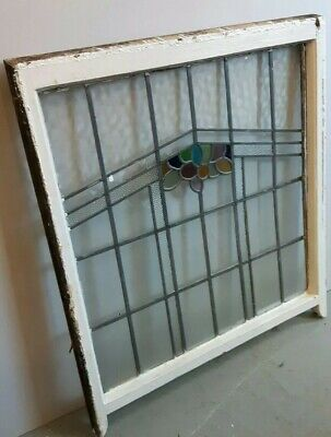 Large Original Vintage Stained Glass Window panel in original painted frame Sash