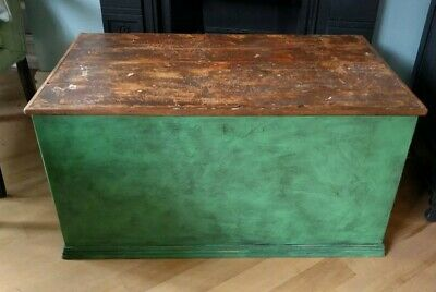 Vintage Green Painted Wooden Trunk - Chest Blanket Toy Box Storage Coffee Table