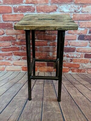 Industrial Antique Bar Stool with Metal Legs And Wooden Seat - Rustic Vintage