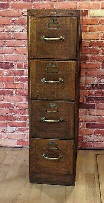Antique Oak Lockable 4 drawer Filing cabinet from Printers - Wooden Office