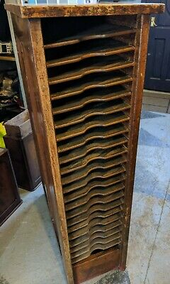 Antique Printers Cabinet With slanted shelves - wooden cupboard unit storage