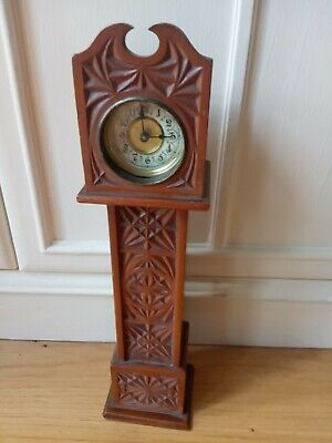 Miniature Grandfather Clock With Wooden Longcase And Removable Brass Clock