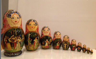 """Vintage Russian Nesting Doll Fedoskino Style """"Villagers """"10Pc 10"""""""