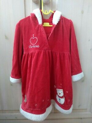 MATALAN Christmas Girls Hooded Coat Style Dress Novelty Hoodie Size 2-3 Years
