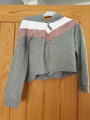NEXT Girls Grey Hooded Cropped Zipped Hoody 8  Years