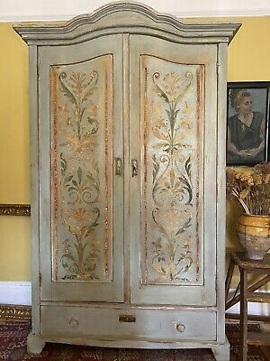 Stunning Painted Pine Vintage Armoire With Boiserie Panels