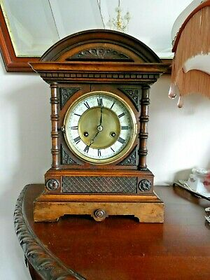 Victorian German H.a.c. Mantel Clock Working Order