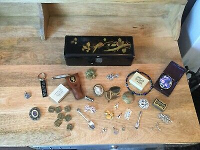 A vintage joblot of jewellery , curios in a lovely papier mache box