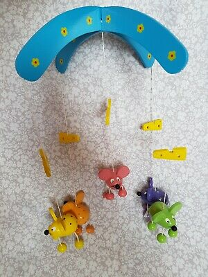 Beautiful Handmade Wooden 5 Mouse Mice & Cheese Baby Hanging Mobile Nursery Cute