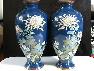 Pair Of Antique Japanese Cloisonne Vases Of Exceptional Quality
