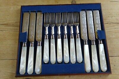Vintage Mother of Pearl and Engraved Plated Fruit/Desert Knives and Forks 12 Pie