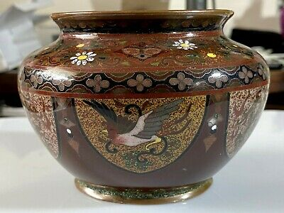 Antique Japanese Cloisonne Rose Bowl Of Exceptional Quality Dragon / Phoenix