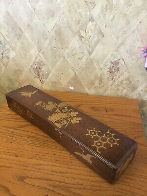 Real old Japanese lacquer ware long box TANZAKU-BAKO with MAKIE Asian Chinese