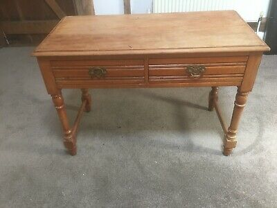 Edwardian writing desk/ hall table . Beech ?