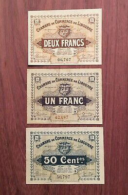 1918 Wartime Emergency Chambre de Commerce de Libourne French Currency Banknote