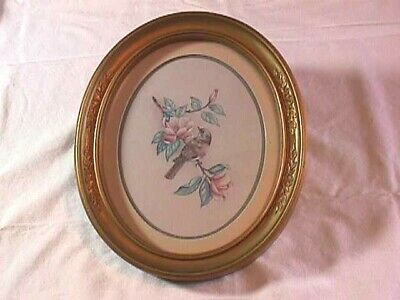 Vintage Ornate Gold Tone Oval Framed Bird Picture With Glass