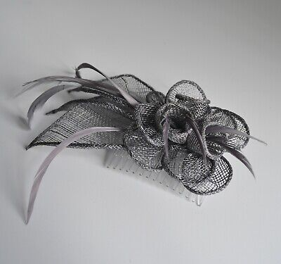 Steel/pewter grey sinamay flower & feather wedding/races fascinator hair comb.