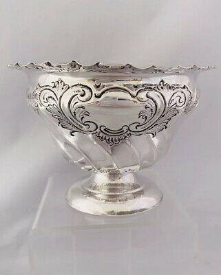 Edwardian Sterling Silver Sugar Or Sweet Bowl 1908 Sheffield Henry Atkin
