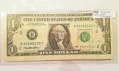 1995 One Dollar $1 Federal Reserve Note Miscut Error into next bill ! VERY RARE