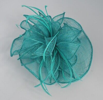 Teal sinamay petals & feather wedding/races fascinator hair comb/accessories UK