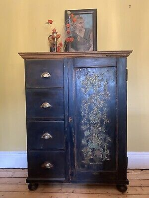 Vintage Oriental Pine Painted Cupboard/cabinet With Inlaid Design