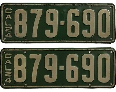 California 1924 License Plate Pair, 879-690, DMV Clear, YOM, Original Paint