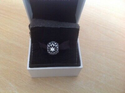 Sterling Silver S925 Round Openwork Full Crystal Bead Charm 130