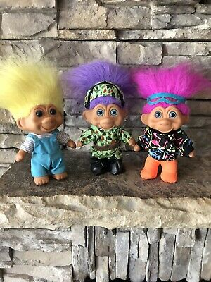 """Troll Dolls By T.N.T.! 4 1/2""""! Set Of 3! Different Hair Color Blue Eyes! 1991!"""
