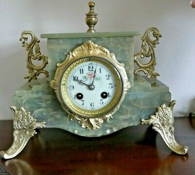 French Marble Mantel Clock Maker Japy Working Order