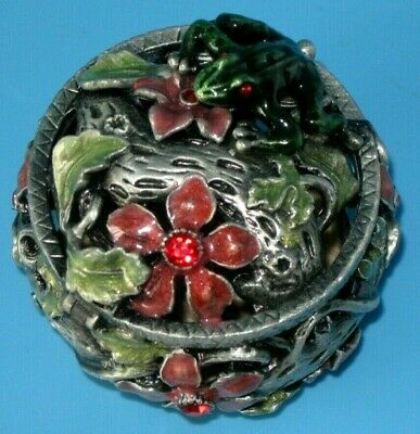 Pewter Hinged Trinket Box With Red Crystals Set In Enameled Floral & Frog Design
