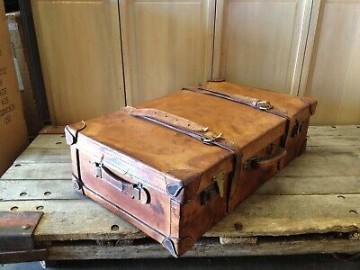 "Vintage ""Hand Made"" Leather Suitcase"
