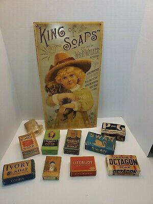 Vintage soap bar and King of Soaps Tin sign and 9 bars lot