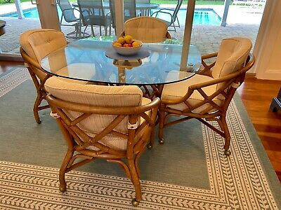 Ficks Reed Rattan Dining Set - Table and 4 chairs on casters