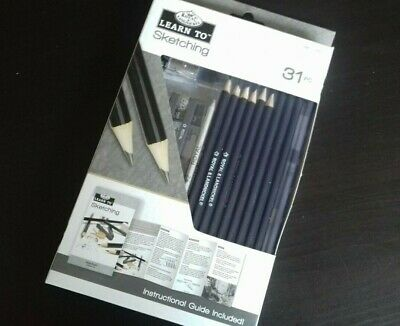 31 Piece Learn to Sketch Sketching Art Set Royal & Langnickel Pencils Guide. NEW