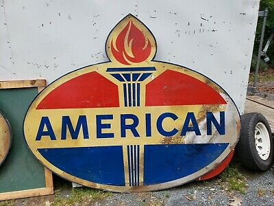 American Gas Oil Sign. Painted Reflective Metal. 8ftx6ft. Wooden Back