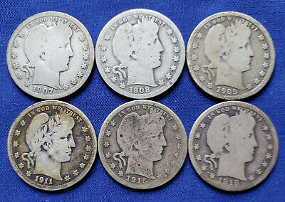 Lot of 6 Barber Quarters, 1907-1915, P-D-S, Good, Combined Shipping, HJPE 5-127