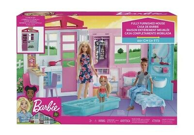 Barbie Doll House Portable Close & Go Fully Furnished Pool Play Set Gift Girl