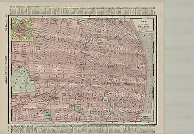 c1895 Rand McNally & Co., Map of Main Portion of St. Louis Original Antique Map
