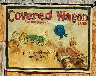 Covered Wagon Baking Soda Antique Advertising Sign Cowboy Western Vintage Train