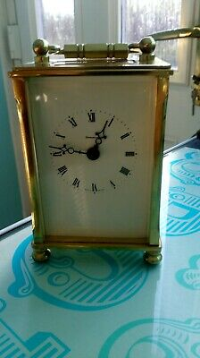 A KEY WIND CARRIAGE CLOCK,1980s? by DOMINION,MADE IN ENGLAND,BRASS & GLASS PANEL