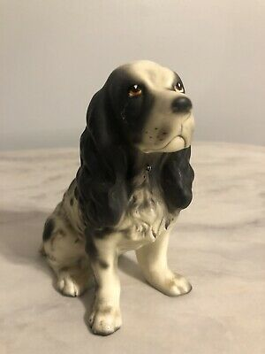VINTAGE DOG FIGURINE ENGLISH SPRINGER SPANIEL  Japan Ceramic Resin Dog Canine