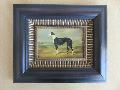 Vintage oleograph framed picture greyhound