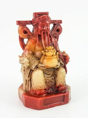 Chinese carved red yellow figurine statue seated man dragon lingzhi